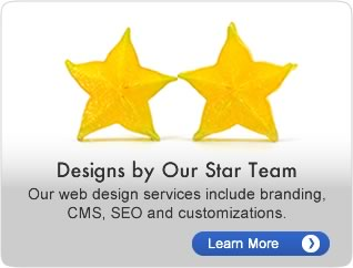Design by our star team.  Our web design services include branding, CMS, SEO and customizations.